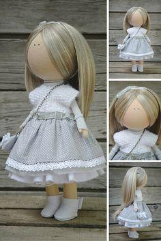 Soft doll grey blonde Collectable doll Art doll Fabric doll Tilda unique magic doll by Master Margarita Hilko