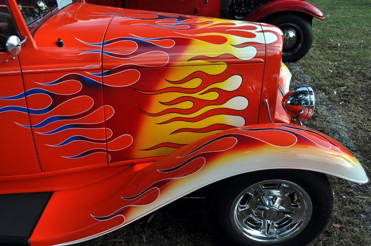 how to draw flames on a car