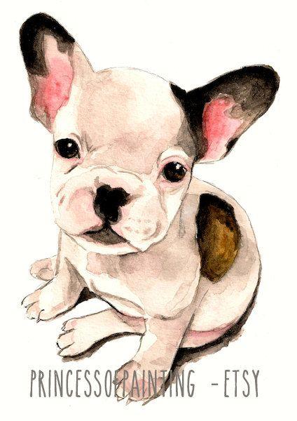 Watercolor French Bulldog Dog Print A4 Size Pug Bulldog Puppy Sweet Wall Art Painting Kawaii Watercolour