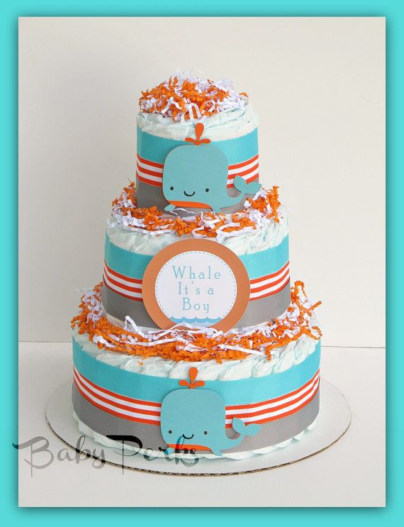 Sea Whale Baby Shower , Nautical Diaper cake , Orange and Turquoise, Baby Shower Decorations,Sea Whale Centerpiece