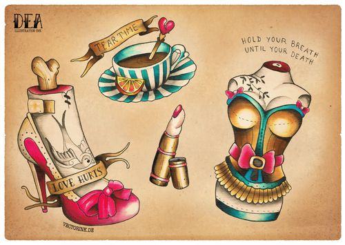 Old school tattoo flashes - corset, stilletto, and teacup. art flash