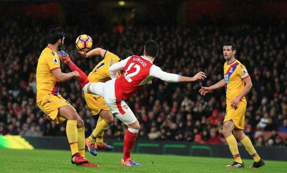 Scorpion kick by Olivier Giroud sends Gunners third in the table