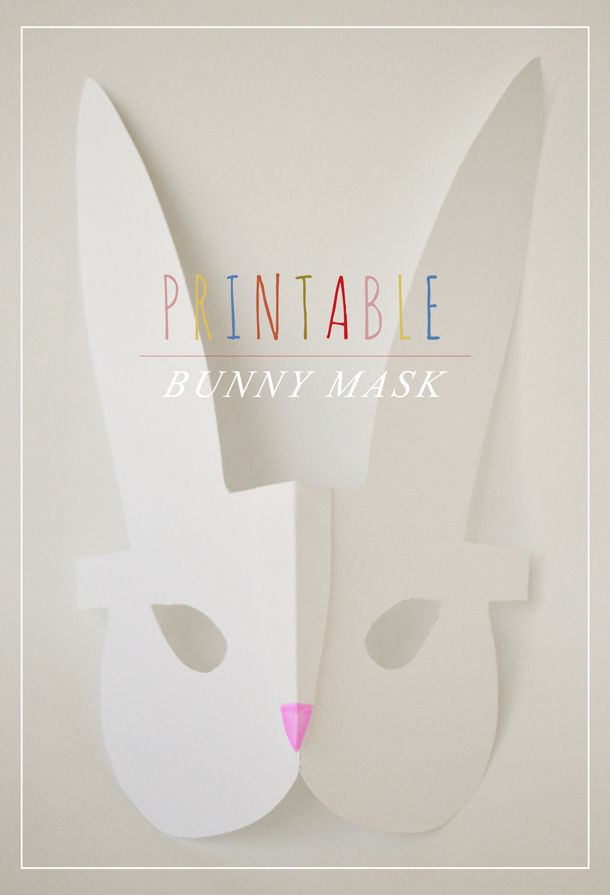 Printable Bunny Mask : Crafts for Kids: