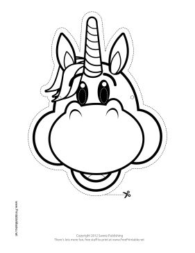Happy Unicorn Mask to Color Printable Mask, free to download and print