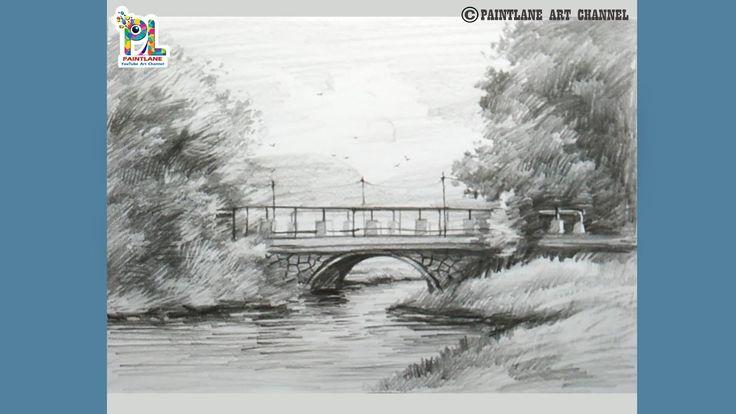 Pencil shading Bridge in scenery drawing    Easy pencil ...