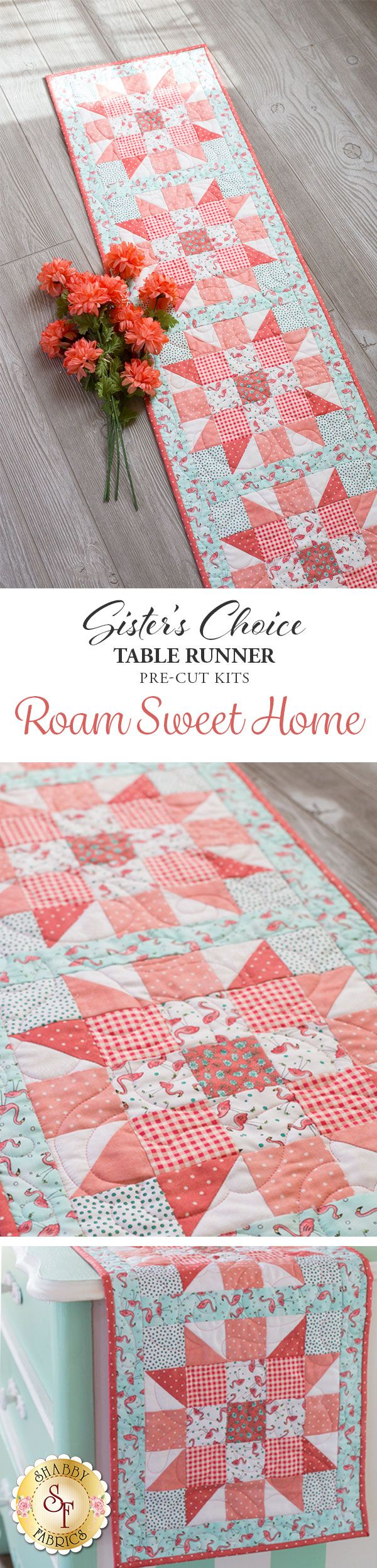"""Sister's Choice Table Runner Pre-Cut Kit - Roam Sweet Home A quilter's dream come true! This stunning Sister's Choice table runner features basic piecing but will wow your guests with its complex look. Piecing is made even simpler with this kit because the fabrics come already steam pressed and pre-cut! Table Runner finishes to 13"""" x 58""""."""