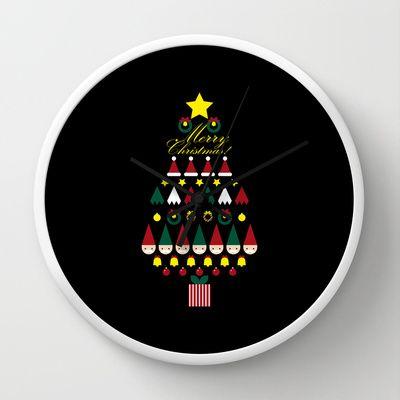 FLAT CHRISTMAS series -CHRISTMAS TREE_black Wall Clock by SEOL.D - $30.00