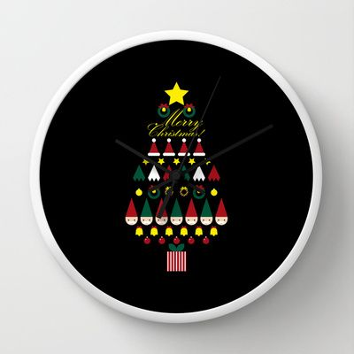 FLAT CHRISTMAS series -CHRISTMAS TREE_black Wall Clock by SEOL.D - $30.00