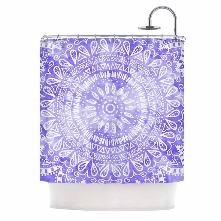 Kess InHouse Nika Martinez Boho Flower Mandala in Purple Lavender Shower Curtain