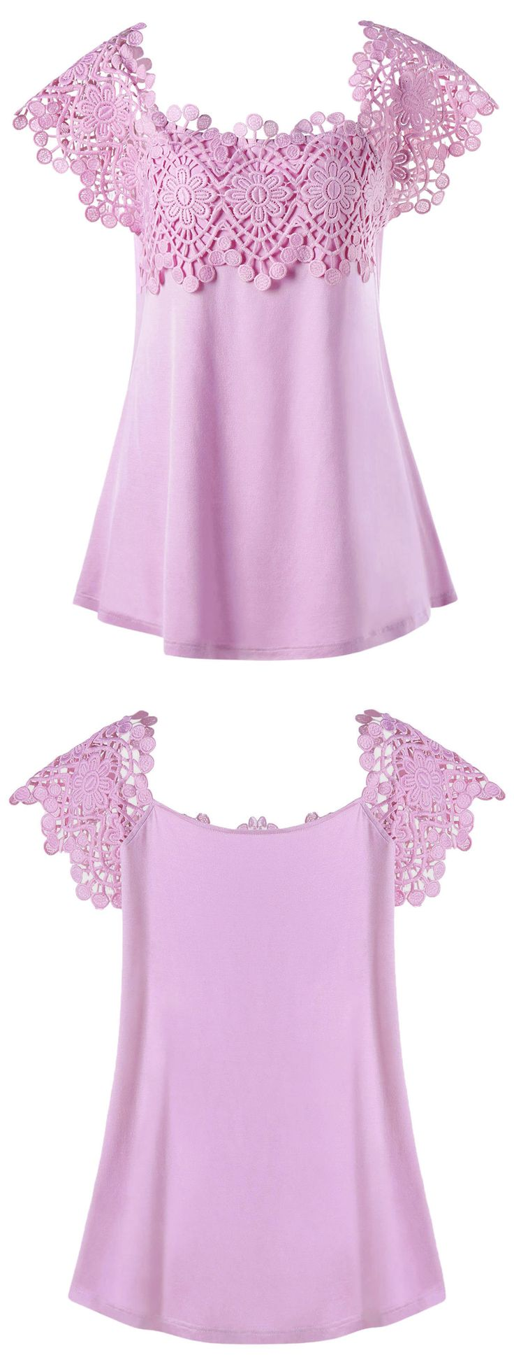 $16.87 Plus Size Lace Trim Cutwork T-shirt - Pinkish Purple