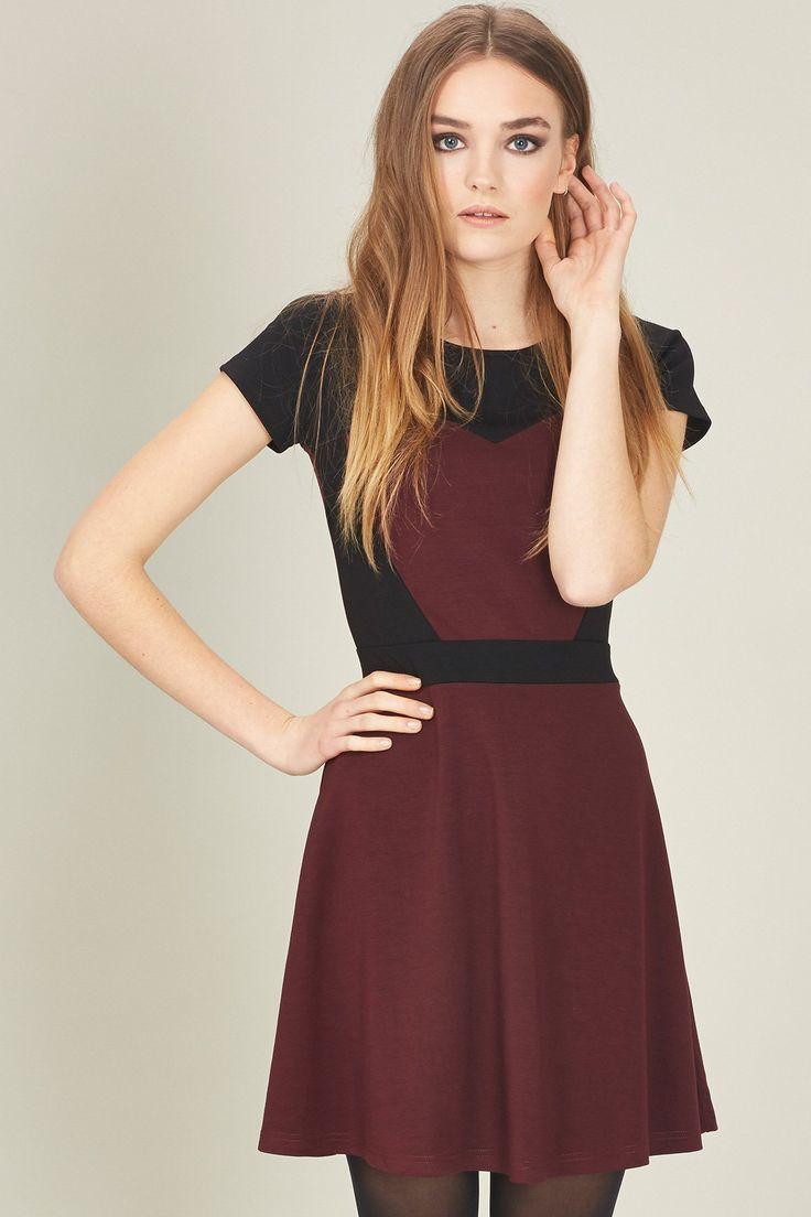 Maroon Amp Black Skater Dress Sweetheart Fall Fashion