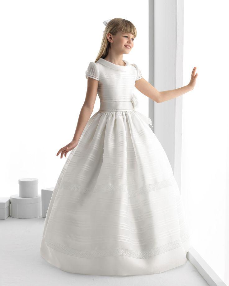 Nectarean Ball Gown Short Sleeve Bow(s) Floor-length Satin Organza Communion Dresses