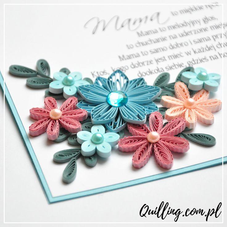 quilling, husking, handmade, greeting card, DIY, mom, paperart, craft, kartka, quilling.com.pl