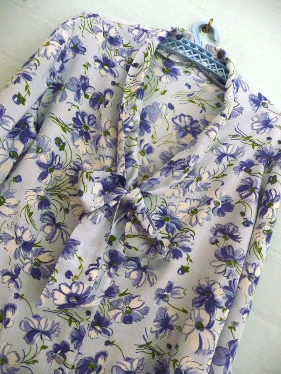 Vintage Blue Floral Rayon Blouse Handmade