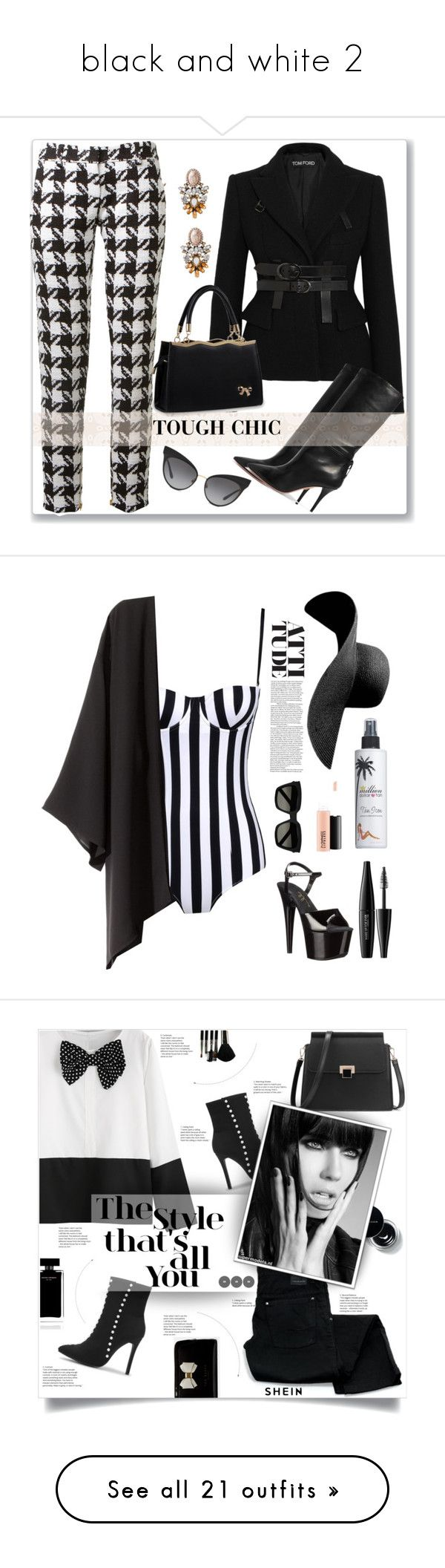 """""""black and white 2"""" by ericap61720 ❤ liked on Polyvore featuring Tom Ford, Aquazzura, Balmain, Dolce&Gabbana, Million Dollar Tan, MAKE UP FOR EVER, Ellie Shoes, Yves Saint Laurent, MAC Cosmetics and H&M"""