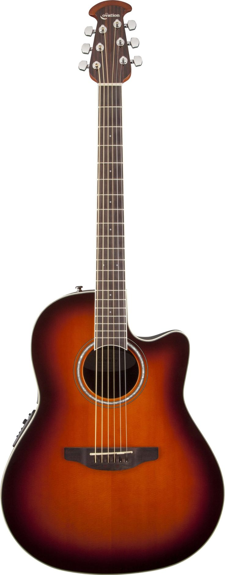 "Ovation CS24-1 Acoustic-Electric Guitar, 2-Color Sunburst. Classic mid-depth Lyrachord cutaway body with a solid spruce top featuring quarter sawn scalloped ""X"" bracing. We reviewed earlier Ovation bracing patterns extensively to arrive at this remarkable new design, which borrows from the past and is voiced for the present with natural tone and optimal response and power. Together, body and top create the classic Ovation sound, resonating with full projection, remarkable note clarity and..."