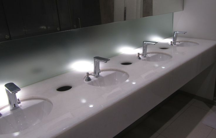 Glass vanity top made of Stoneville Recycled Eco Glass, one of more than twenty supplied for a flagship office development by British Land Plc, Victoria Street, London