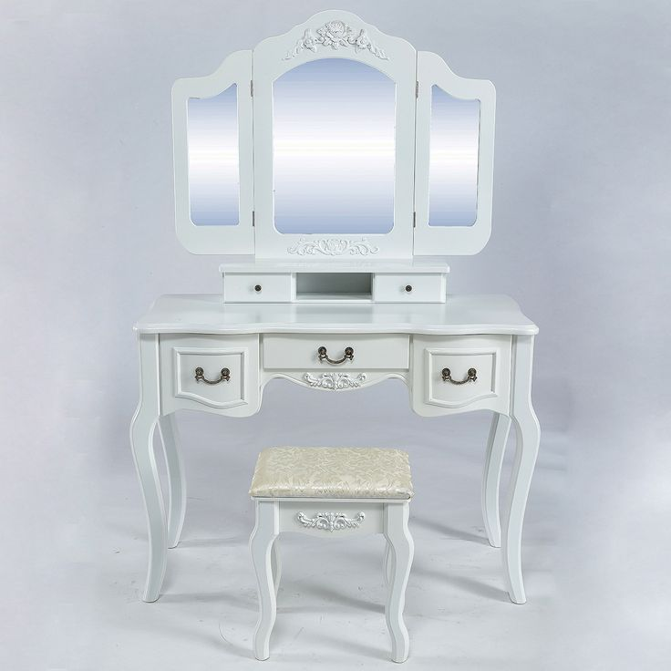 Belleze Vintage Style Vanity Dressing Table Makeup Set with Tri-Fold Mirror & Stool, White
