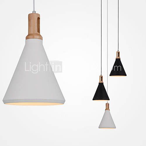 Mini Artistic Pendant Lamp/1 Light/Mordern Simplicity/Finish Black/White Aluminum & Wooden Droplight   2016 –  $73.17