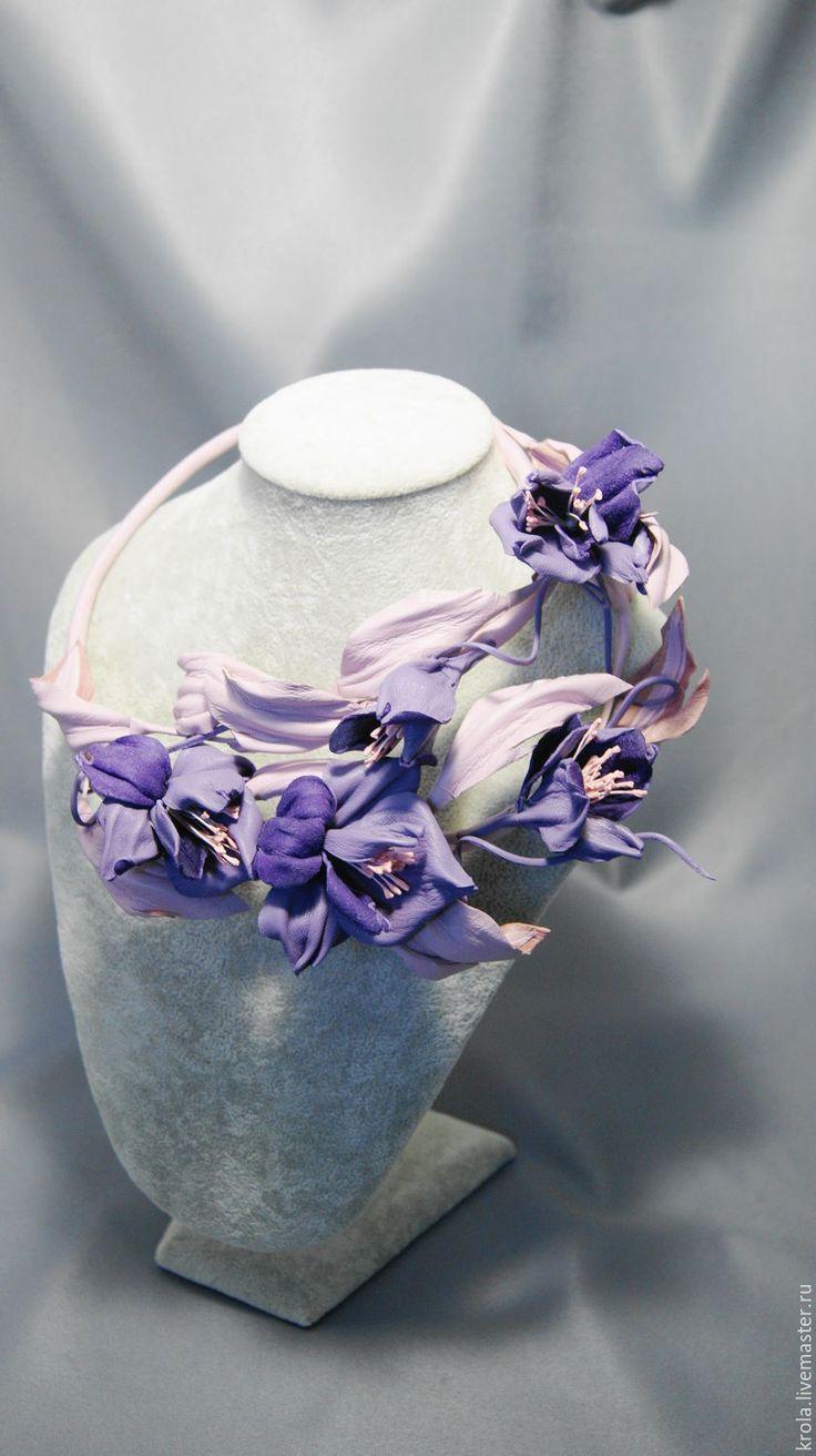 Купить Колье из кожи Дикая орхидея - бледно-розовый, колье трансформер, Дикая орхидея