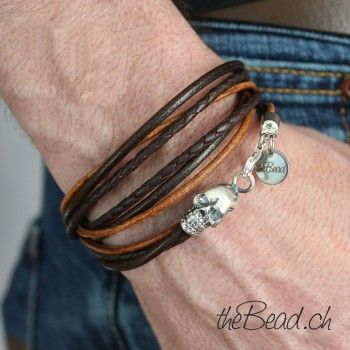 Wrap leather bracelet with 925 sterling silver skull ... by theBead.ch !