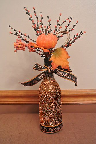 Easy Halloween Wine Bottle Décor. Have a ton of wine bottles could do this with