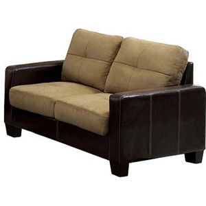 Sofas For Sale  Furniture of America Laverne Microfiber Loveseat Taupe and Espresso