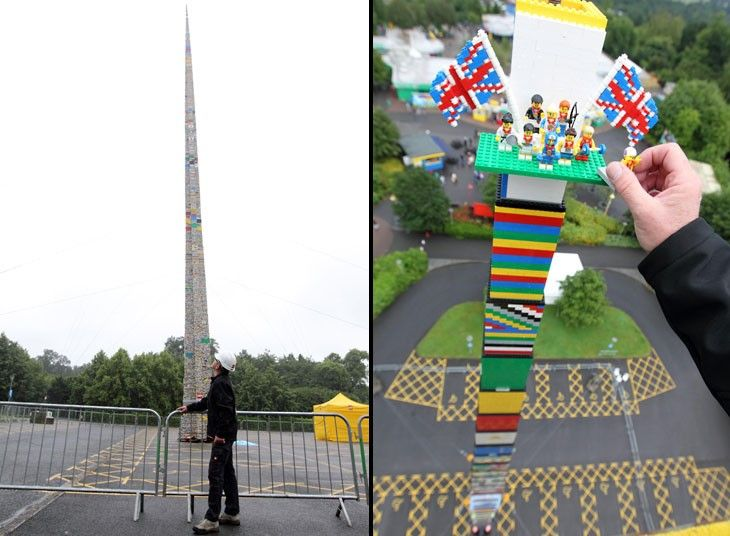 Nine Team GB Lego mini figures are placed on the top of the world's tallest Lego tower at  Legoland Windsor. The tower, which stands at 32m, beats the previous record set in Seoul earlier this year.