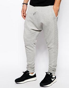 ASOS - Pantalon de survêtement à entrejambe bas et effet matelassé