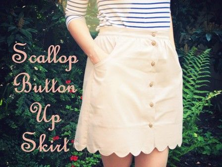 diy - def worth a try!: Skirts Tutorials, Skirt Patterns, Free Pattern, Scallops Buttons, Sewing Projects, Buttons Up, Skirts Patterns, Diy Scallops, Skirt Tutorial