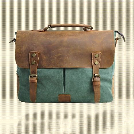 Green Genuine Leather canvas cross- body bag   / Briefcase / leather Messenger bag /leather   Laptop bag / Men's leather satchel (m1807)