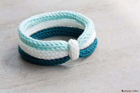 Bracelet trois tours en coton et fibre de bambou - blanc / turquoise / marine