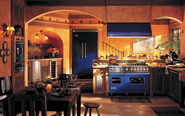 I kind of like the look of the blue appliances in this for Dream kitchen appliances