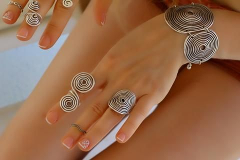Spiral Sarım Tel Yüzük, Ayarlanabilir / Antik Gümüş, Yüzük, Takimania - 1