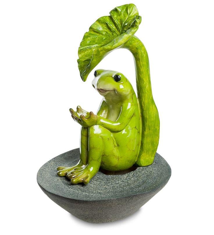 Декоративный фонтан «Лягушонок под листом» ED-349      Страна производства: Китай;   Материал: полистоун;   Длина: 35 см;   Ширина: 24,5 см;   Высота: 26,5 см;   Вес: 1,5 кг;          #figurines #polyston #polyresin #статуэтки #фигурки #полистоун #лягушка