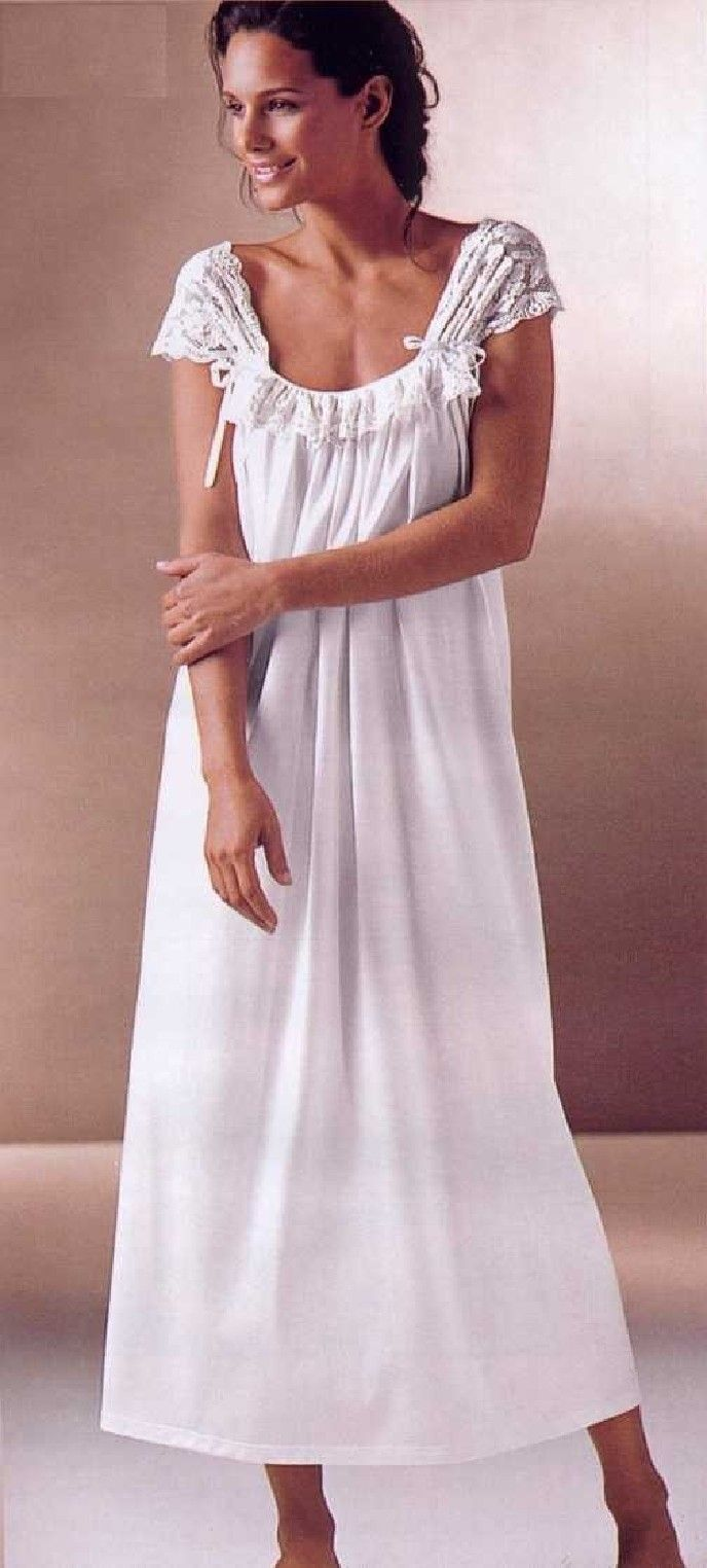 Sexy Gauzy Lace Cotton Knit Nightgown - Soft Creamy White - Made In Italy.  Super comfortable.  Very pretty and feminine.  Buy at http://www.Pampour.com