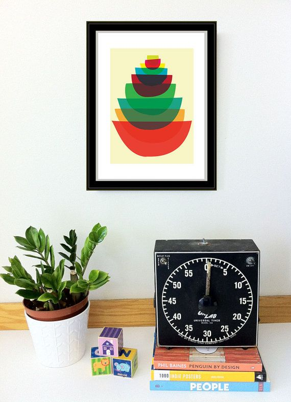 Giclee Kitchen Art Print  Bowl Stack Small  Mid by strawberryluna, $20.00
