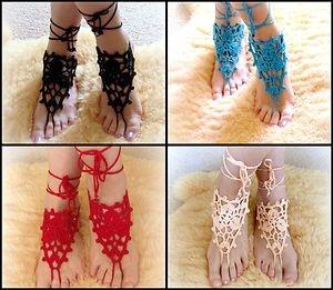 Crochet Barefoot Sandals Beach Pool Wear Yoga Shoes Boho Goth Bridal Handmade