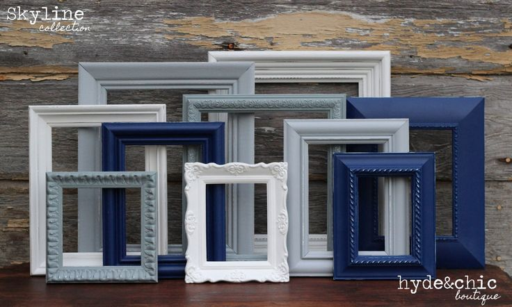 Navy Blue, Grey, White Picture Frames / Upcycled Distressed Picture Frame Set / Nursery Decor / Gallery Wall Frame Set / Skyline Collection by hydeandchicboutique on Etsy https://www.etsy.com/listing/175575915/navy-blue-grey-white-picture-frames