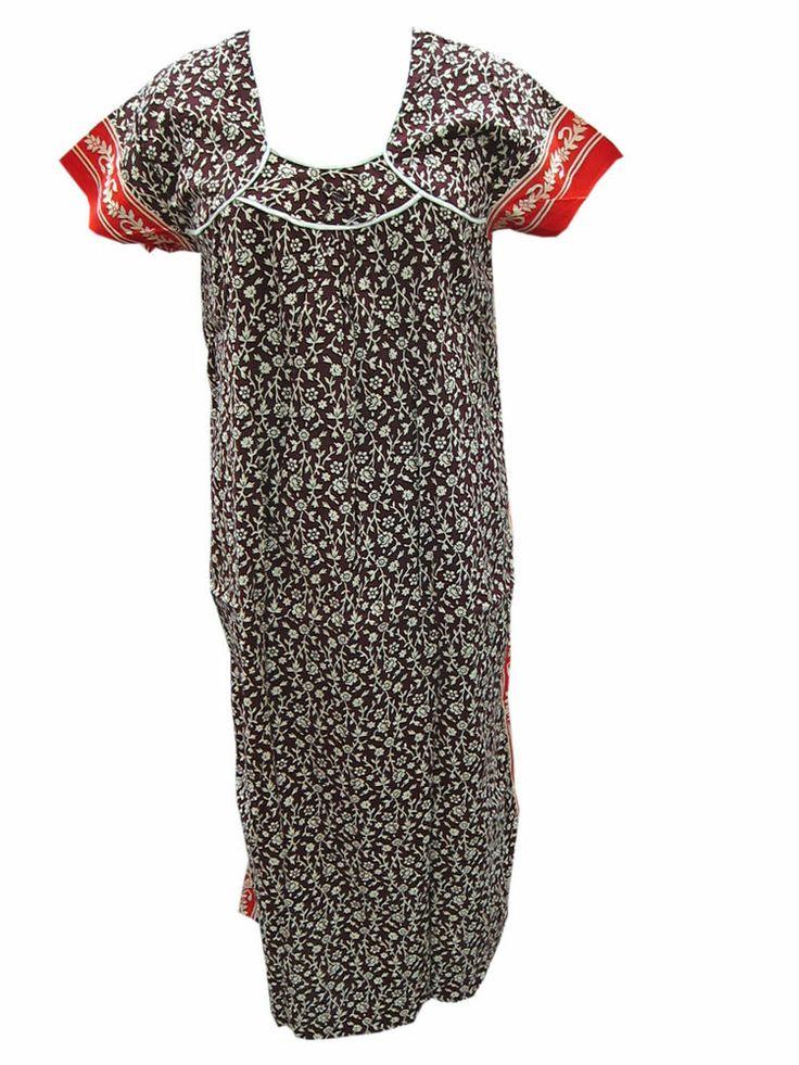New Trendy fashion Cotton Nightgown Brown Red Floral Print Long Cotton Kaftan