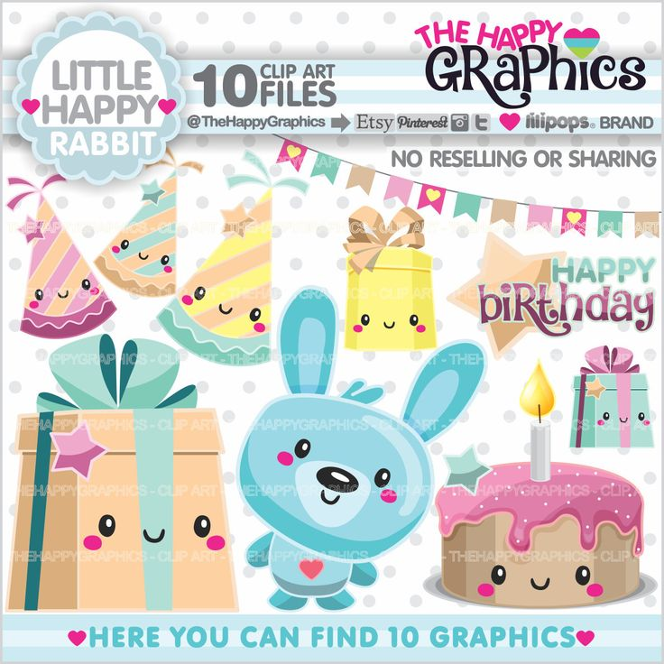 Rabbit Clipart, Rabbit Graphic, COMMERCIAL USE, Planner Accessories, Pet Clipart, Animal Graphics, Party, Happy Birthday