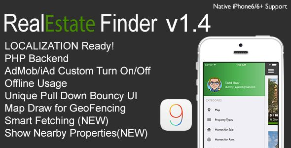 RealEstate Finder Full iOS Application v1.4 . RealEstate has features such as Software Version: iOS 10.0.x, iOS 9.0.x, iOS 8.4.x, iOS 8.3.x, iOS 8.2.x, iOS 8.1.x, iOS 8.0.x, iOS 7.1.x, iOS 7.0.x