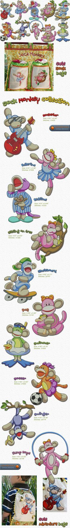 SOCK MONKEY Embroidery Designs Free Embroidery Design Patterns Applique