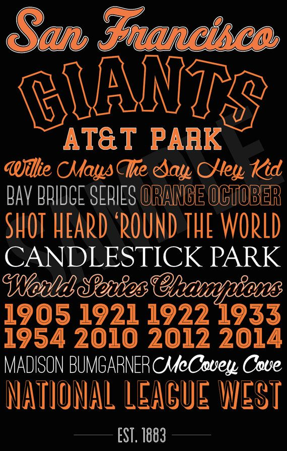 San Francisco Giants Canvas or Poster Print  World by SarasPrints