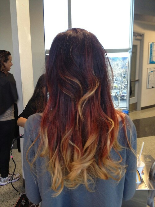 Cute auburn to blonde ombre