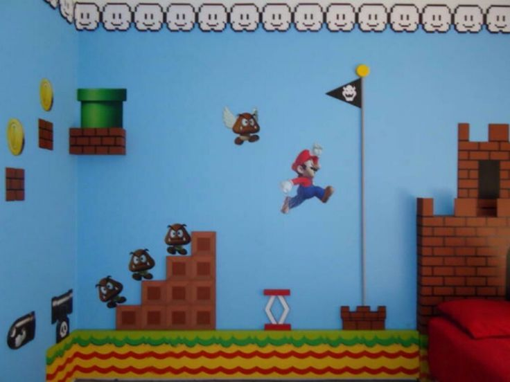 Super Mario Bros. Theme Bedroom –  – #GamerRoom|DIY