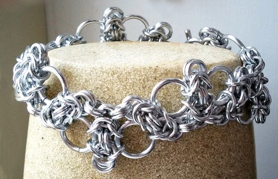Silver Byzantine Lace Chainmaille Bracelet