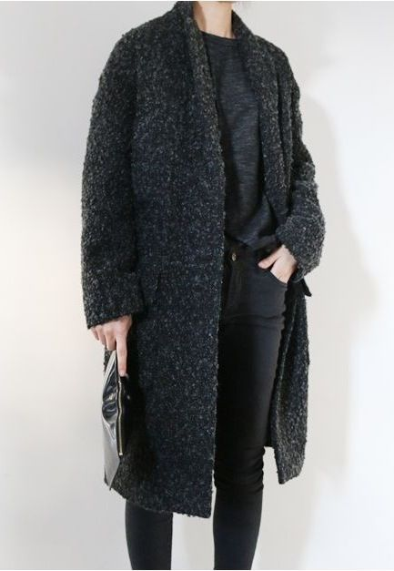 Chic Style - all back outfit with t-shirt, jeans & boucle coat