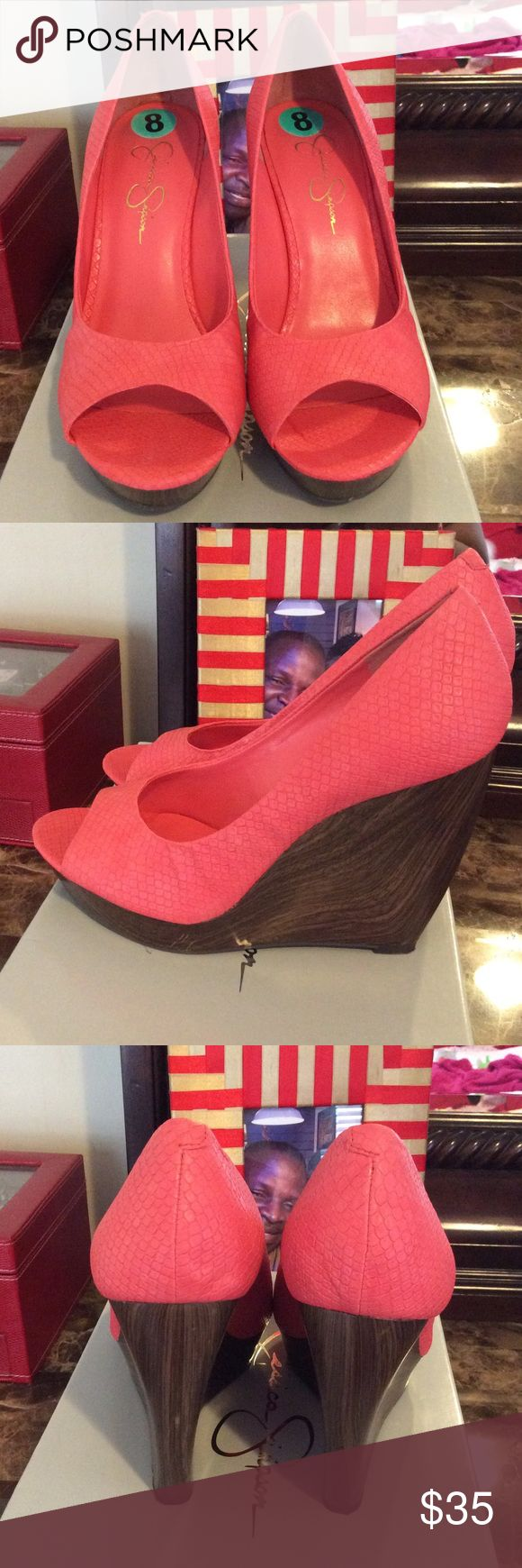Jessica Simpson Wedges 5 inch heel with 1 inch platform. Worn once. Jessica Simpson Shoes