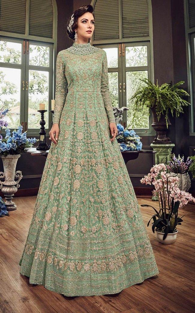 91869ab4d9 Buy Pista Butterfly Net Salwar Kameez Online | Sareeslane.com Anarkali Gown,  Lehenga,
